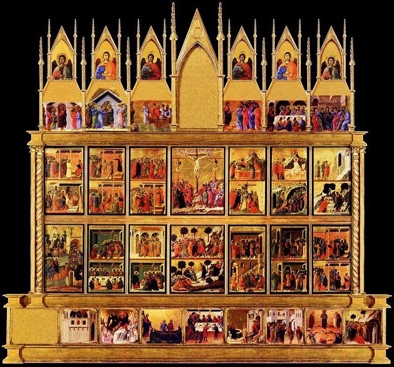 Duccio di Buoninsegna, Maestà, retro, 1308-1311, Museo dell'Opera Metropolitana, Siena